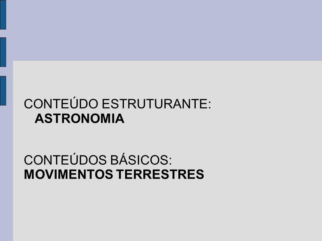 CONTEÚDO ESTRUTURANTE: ASTRONOMIA CONTEÚDOS BÁSICOS: MOVIMENTOS TERRESTRES