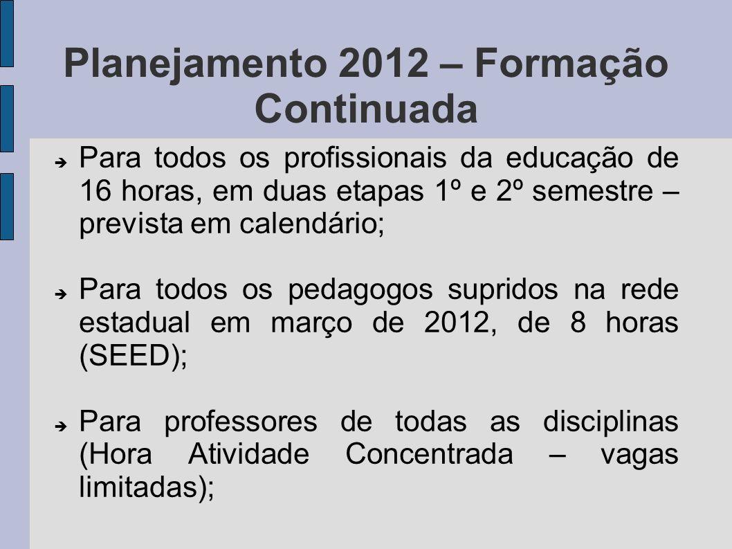 Planejamento 2012 – Formação Continuada