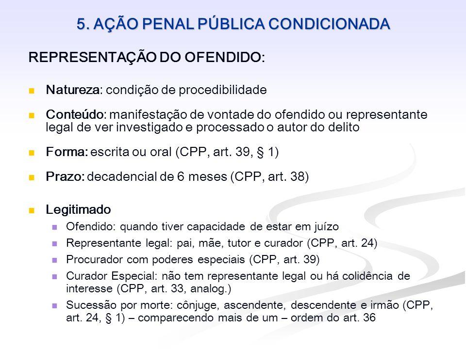 5. AÇÃO PENAL PÚBLICA CONDICIONADA