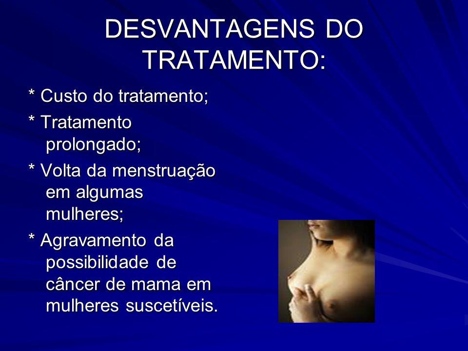 DESVANTAGENS DO TRATAMENTO: