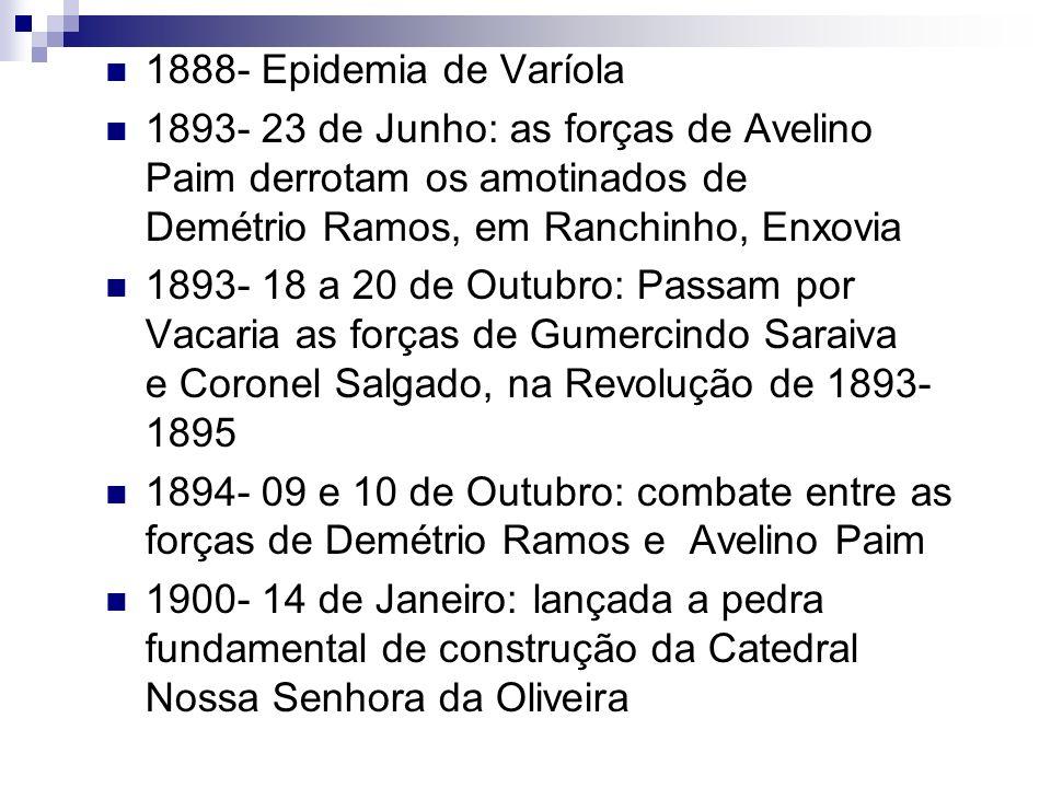 1888- Epidemia de Varíola 1893- 23 de Junho: as forças de Avelino Paim derrotam os amotinados de Demétrio Ramos, em Ranchinho, Enxovia.