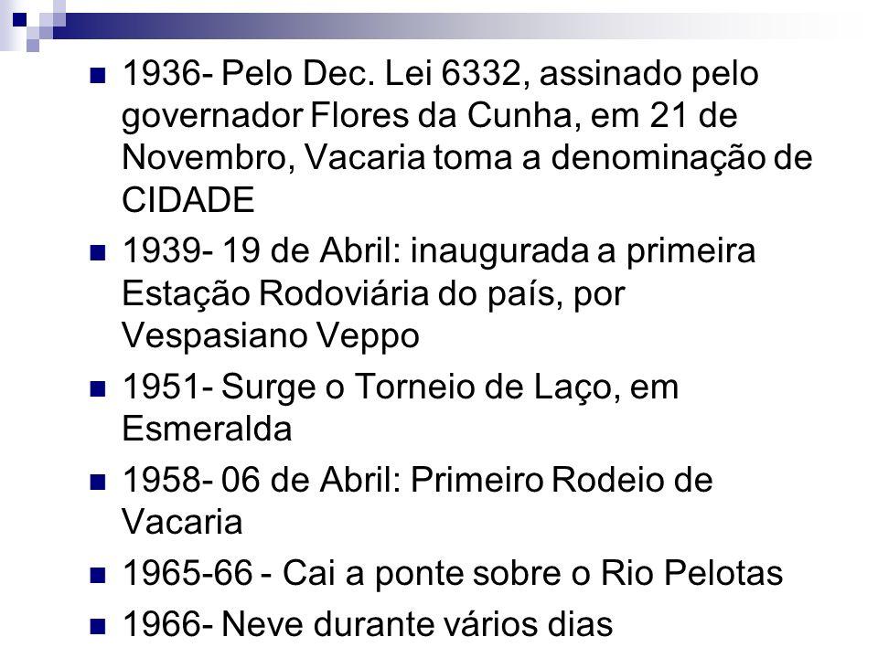 1936- Pelo Dec. Lei 6332, assinado pelo governador Flores da Cunha, em 21 de Novembro, Vacaria toma a denominação de CIDADE