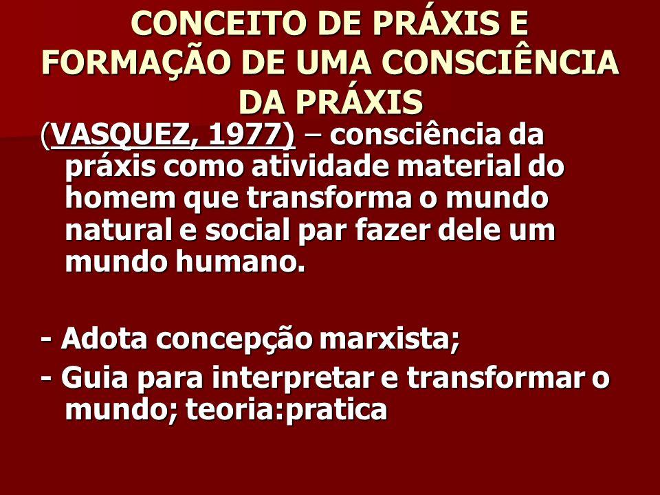 CONCEITO DE PRÁXIS E FORMAÇÃO DE UMA CONSCIÊNCIA DA PRÁXIS