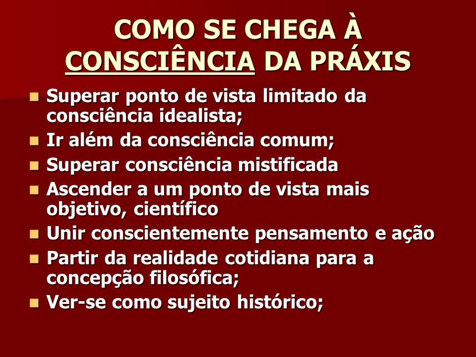 COMO SE CHEGA À CONSCIÊNCIA DA PRÁXIS
