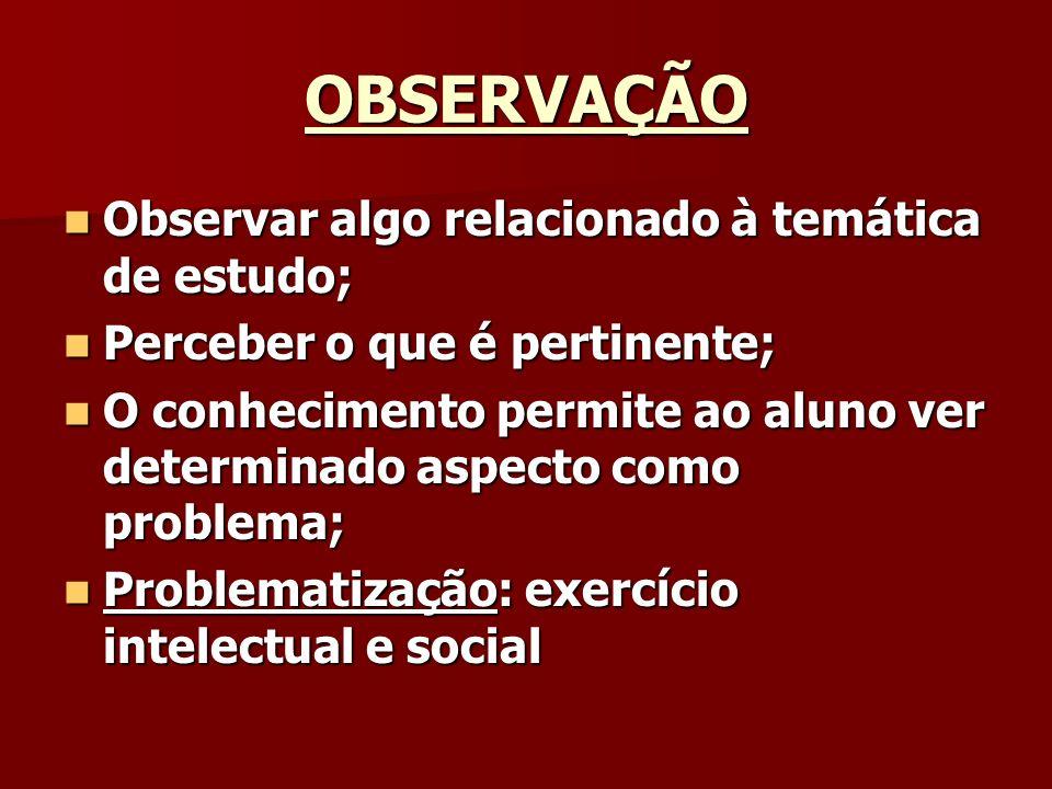 OBSERVAÇÃO Observar algo relacionado à temática de estudo;