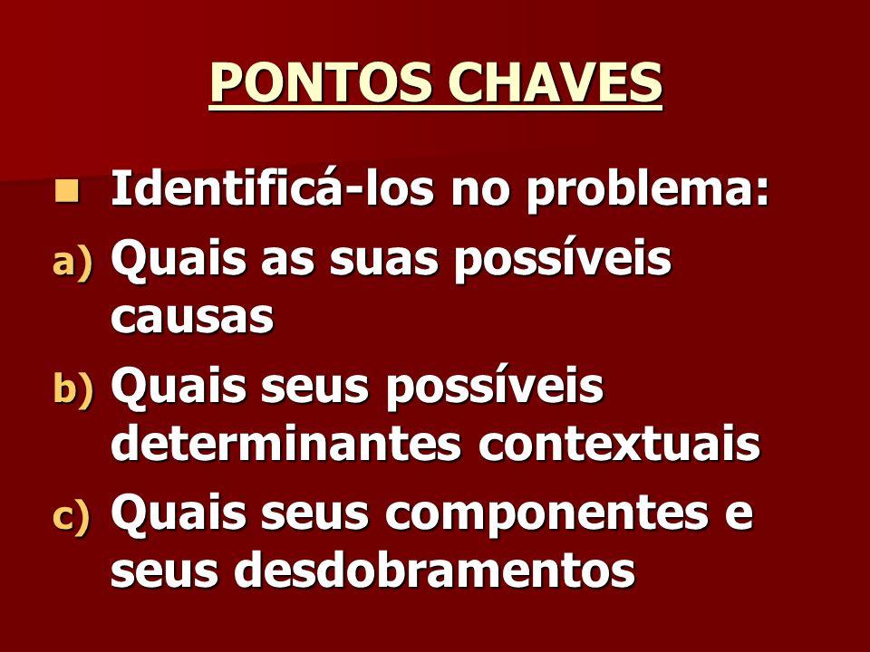 PONTOS CHAVES Identificá-los no problema: