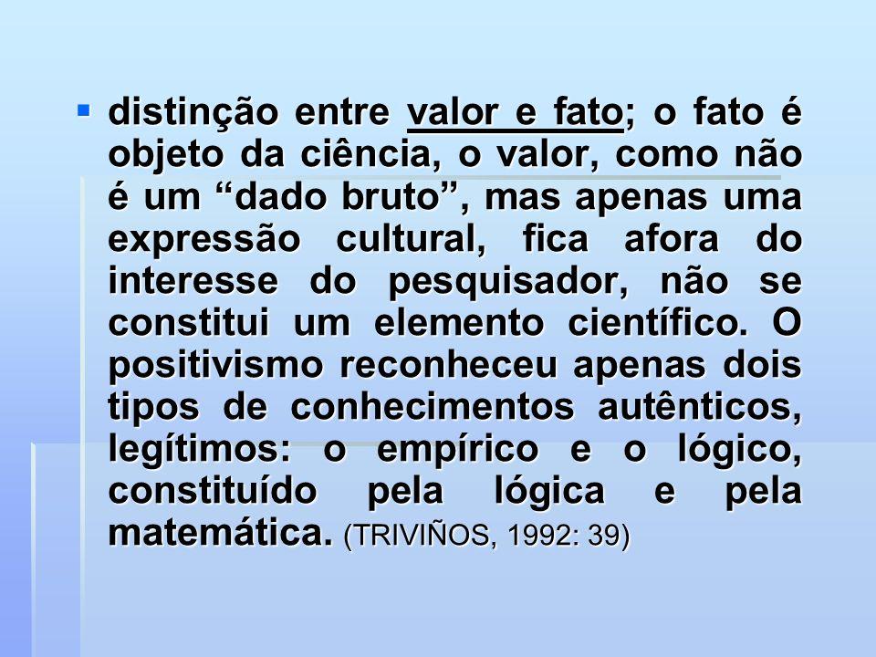 distinção entre valor e fato; o fato é objeto da ciência, o valor, como não é um dado bruto , mas apenas uma expressão cultural, fica afora do interesse do pesquisador, não se constitui um elemento científico.