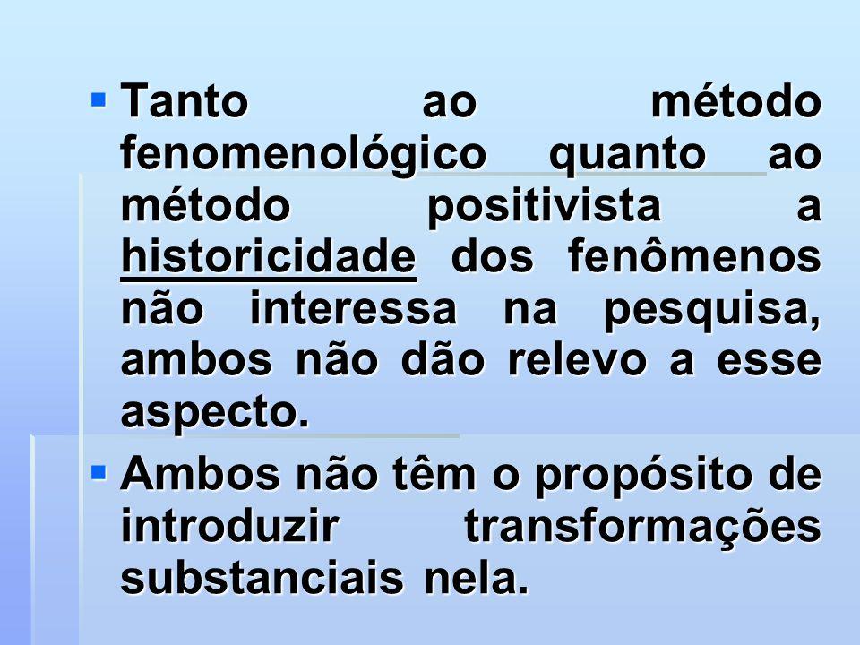 Tanto ao método fenomenológico quanto ao método positivista a historicidade dos fenômenos não interessa na pesquisa, ambos não dão relevo a esse aspecto.