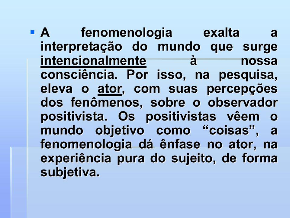 A fenomenologia exalta a interpretação do mundo que surge intencionalmente à nossa consciência.