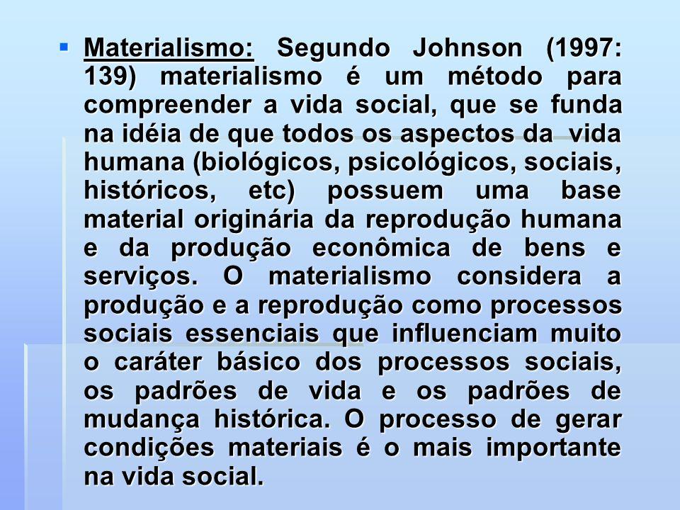 Materialismo: Segundo Johnson (1997: 139) materialismo é um método para compreender a vida social, que se funda na idéia de que todos os aspectos da vida humana (biológicos, psicológicos, sociais, históricos, etc) possuem uma base material originária da reprodução humana e da produção econômica de bens e serviços.