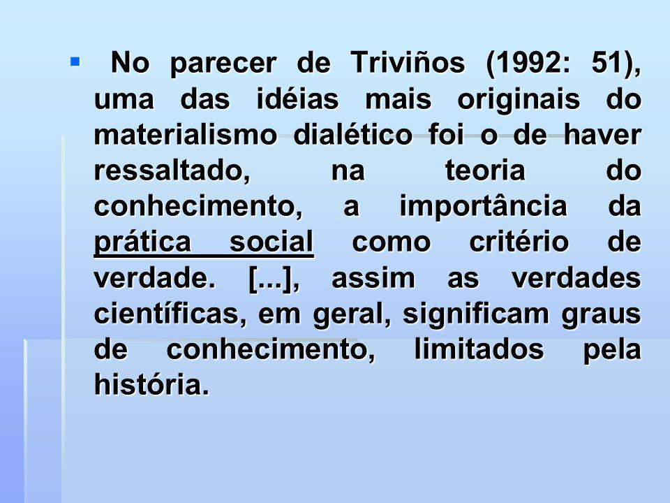 No parecer de Triviños (1992: 51), uma das idéias mais originais do materialismo dialético foi o de haver ressaltado, na teoria do conhecimento, a importância da prática social como critério de verdade.
