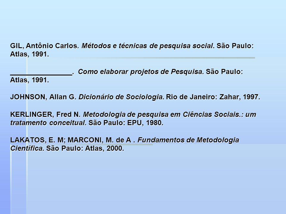GIL, Antônio Carlos. Métodos e técnicas de pesquisa social