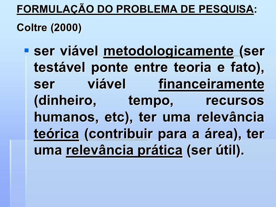 FORMULAÇÃO DO PROBLEMA DE PESQUISA: Coltre (2000)