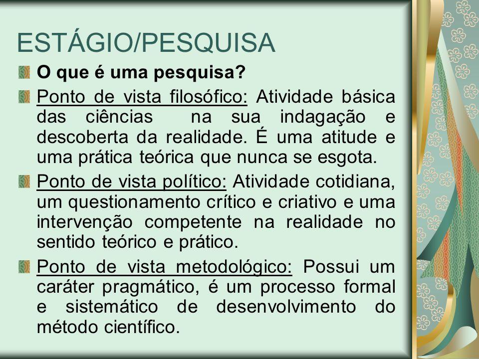 ESTÁGIO/PESQUISA O que é uma pesquisa