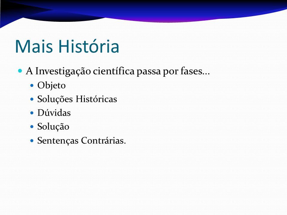 Mais História A Investigação científica passa por fases... Objeto