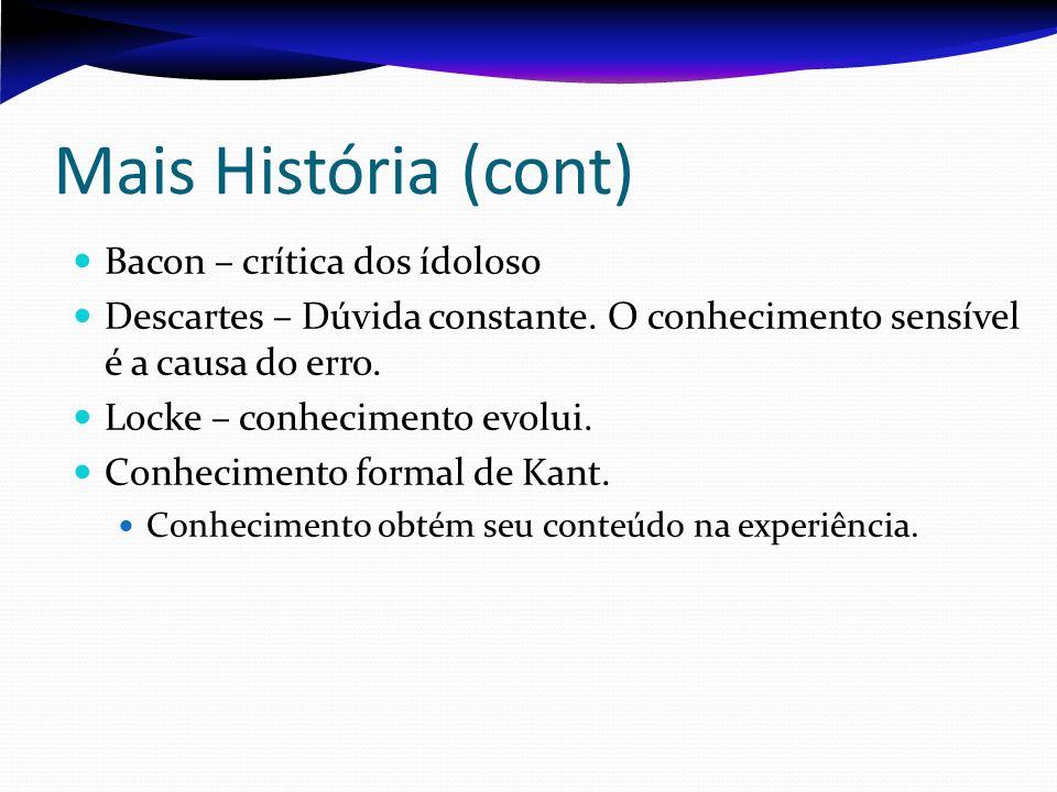 Mais História (cont) Bacon – crítica dos ídolos0