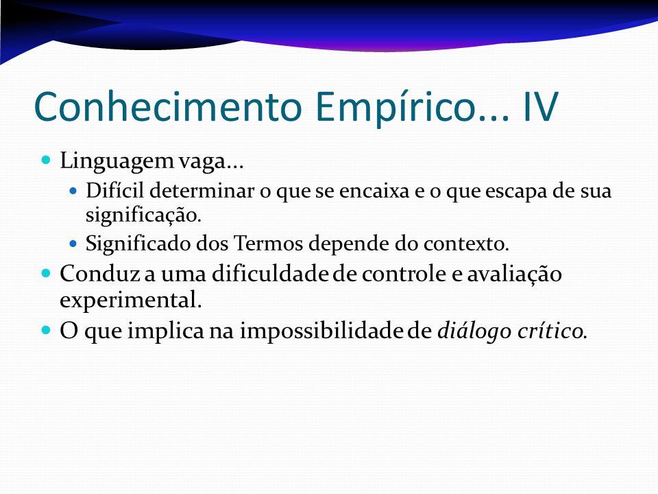 Conhecimento Empírico... IV