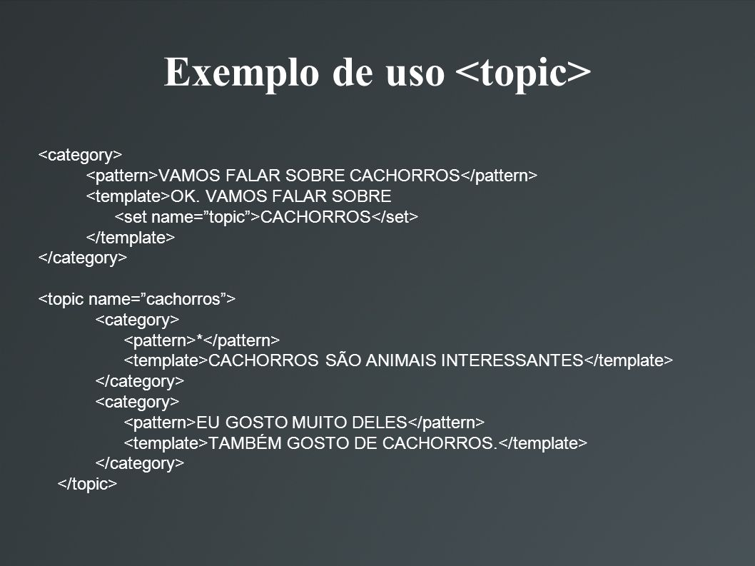 Exemplo de uso <topic>
