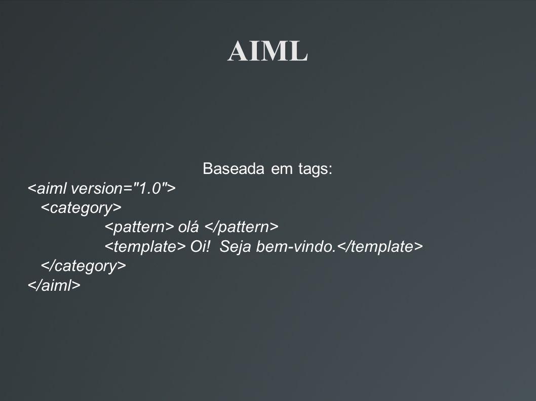 AIML Baseada em tags: <aiml version= 1.0 > <category>