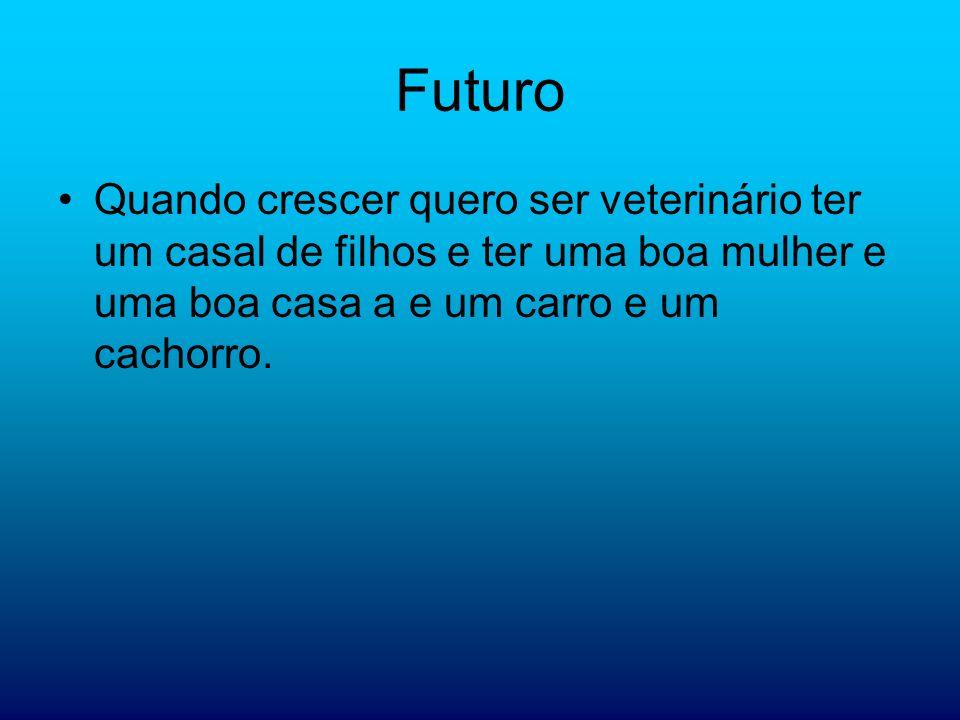 FuturoQuando crescer quero ser veterinário ter um casal de filhos e ter uma boa mulher e uma boa casa a e um carro e um cachorro.