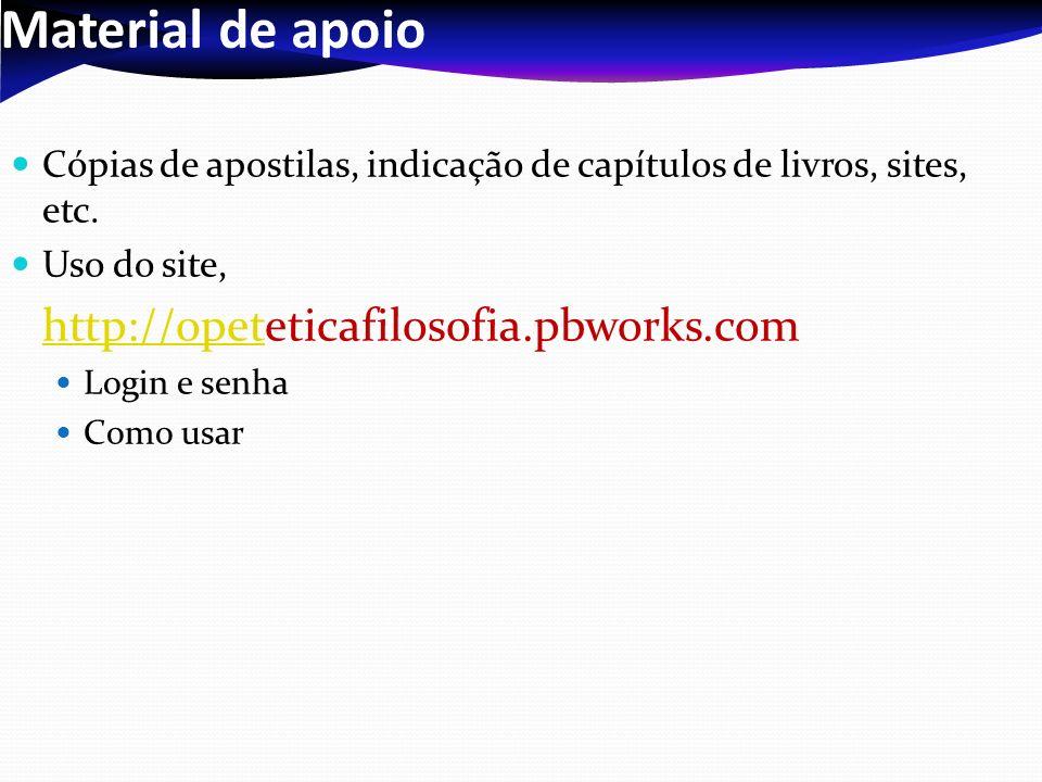 Material de apoioCópias de apostilas, indicação de capítulos de livros, sites, etc. Uso do site, http://opeteticafilosofia.pbworks.com.