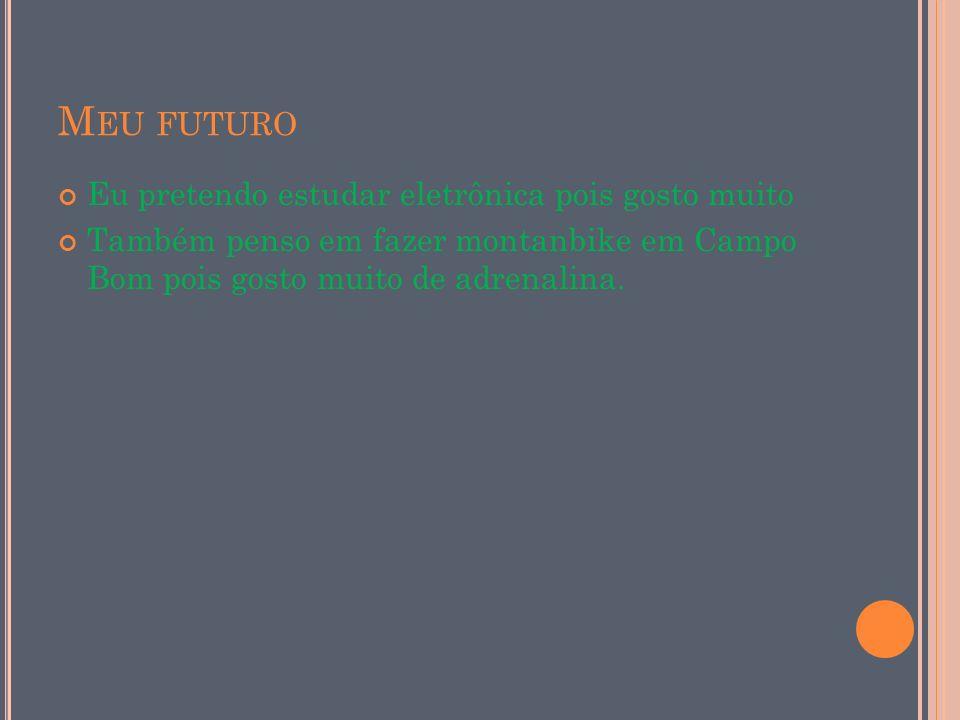 Meu futuro Eu pretendo estudar eletrônica pois gosto muito