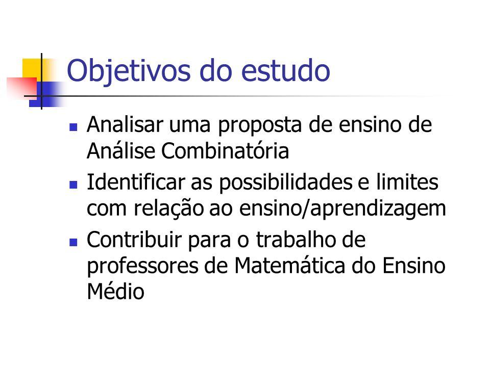 Objetivos do estudo Analisar uma proposta de ensino de Análise Combinatória.