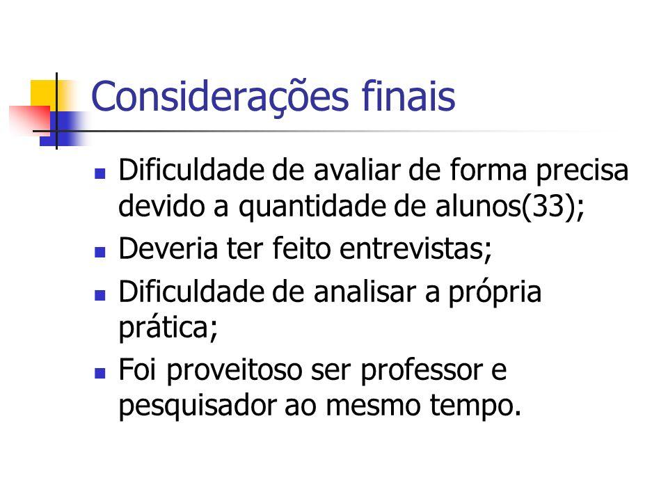 Considerações finais Dificuldade de avaliar de forma precisa devido a quantidade de alunos(33); Deveria ter feito entrevistas;