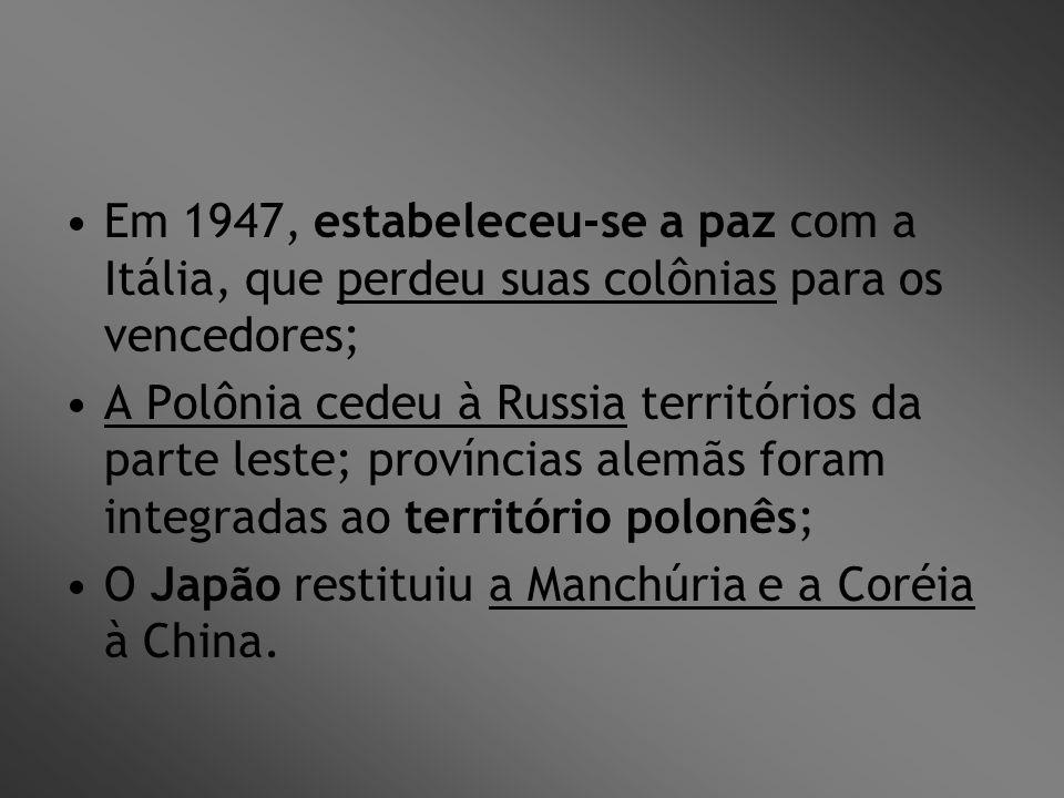 Em 1947, estabeleceu-se a paz com a Itália, que perdeu suas colônias para os vencedores;