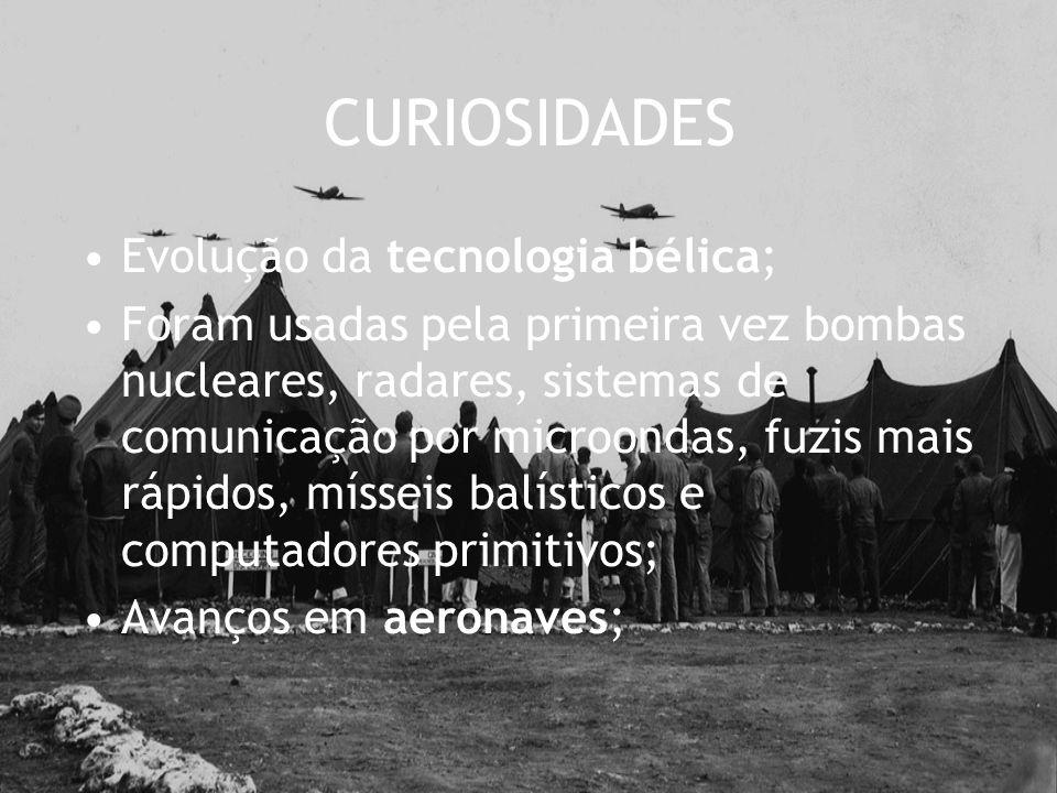 CURIOSIDADES Evolução da tecnologia bélica;