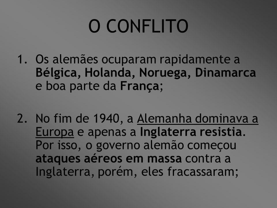 O CONFLITO Os alemães ocuparam rapidamente a Bélgica, Holanda, Noruega, Dinamarca e boa parte da França;