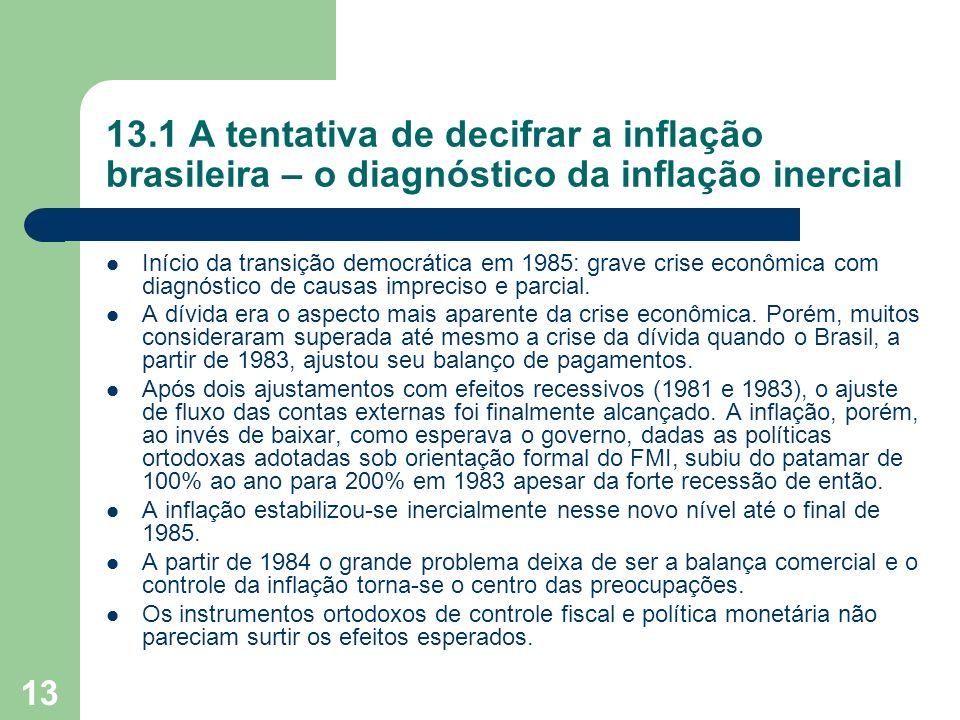 13.1 A tentativa de decifrar a inflação brasileira – o diagnóstico da inflação inercial