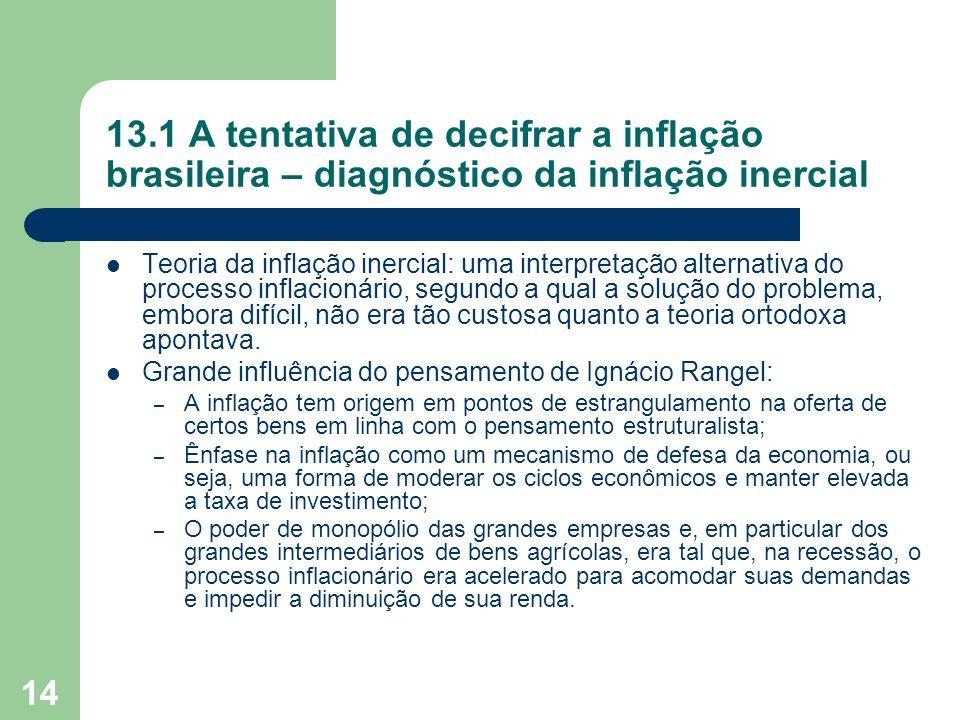 13.1 A tentativa de decifrar a inflação brasileira – diagnóstico da inflação inercial