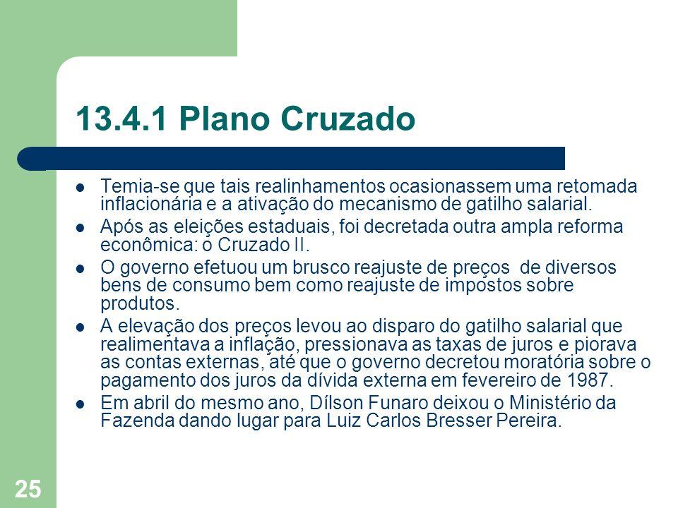 13.4.1 Plano Cruzado Temia-se que tais realinhamentos ocasionassem uma retomada inflacionária e a ativação do mecanismo de gatilho salarial.