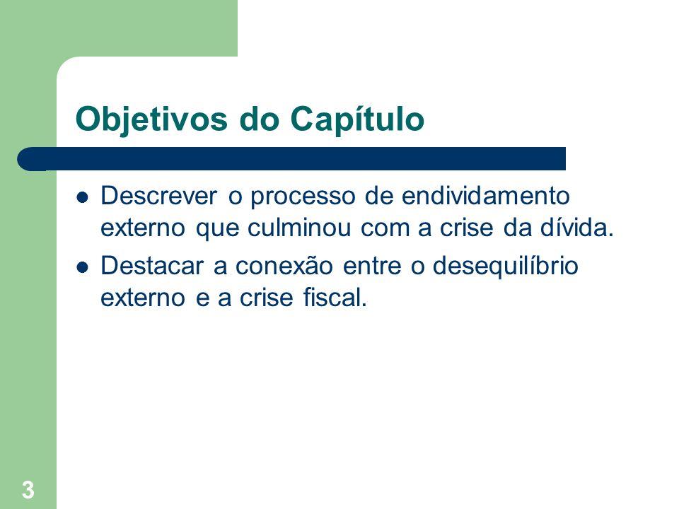 Objetivos do Capítulo Descrever o processo de endividamento externo que culminou com a crise da dívida.