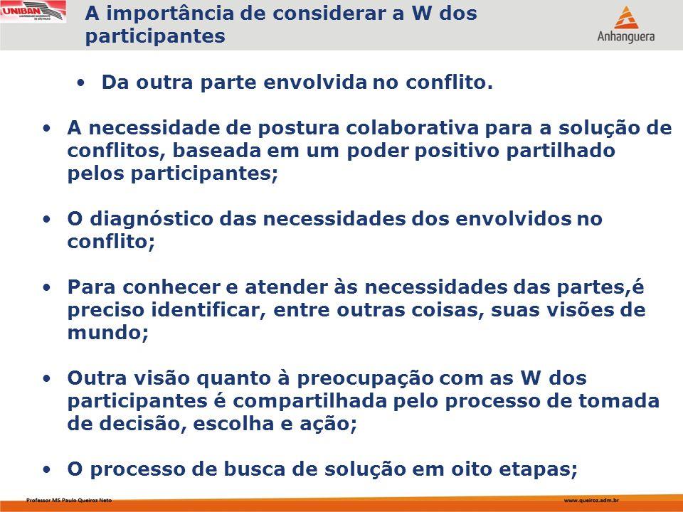 A importância de considerar a W dos participantes