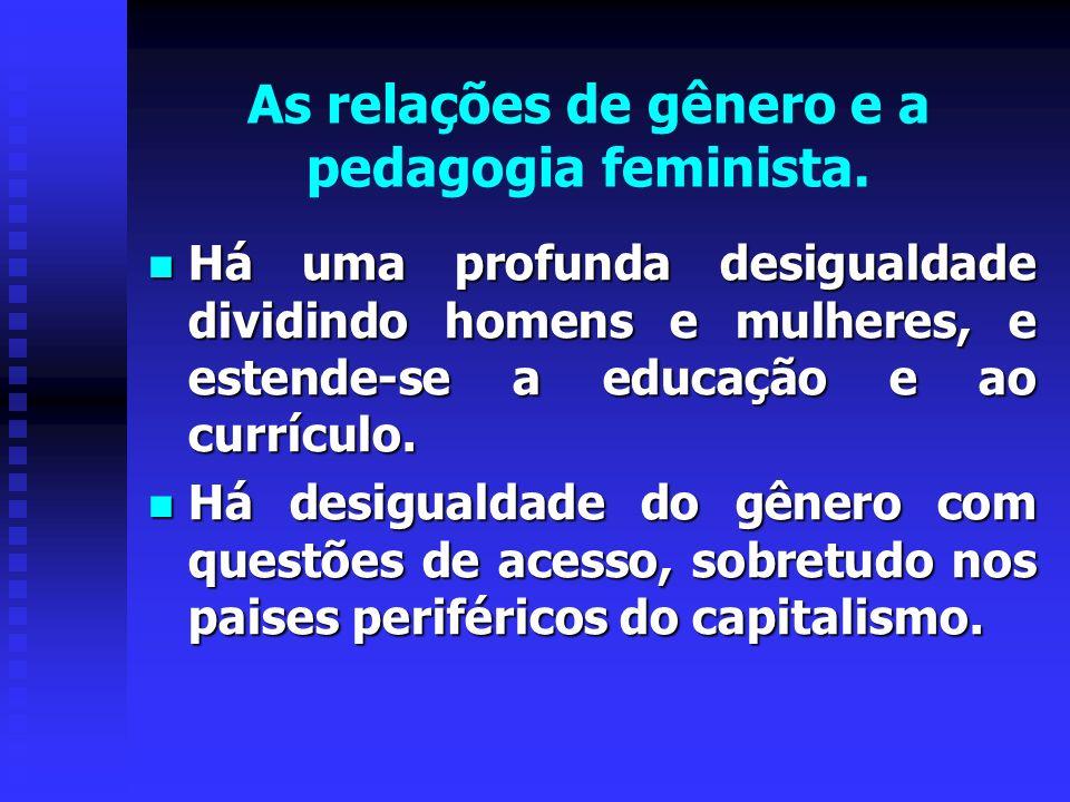 As relações de gênero e a pedagogia feminista.