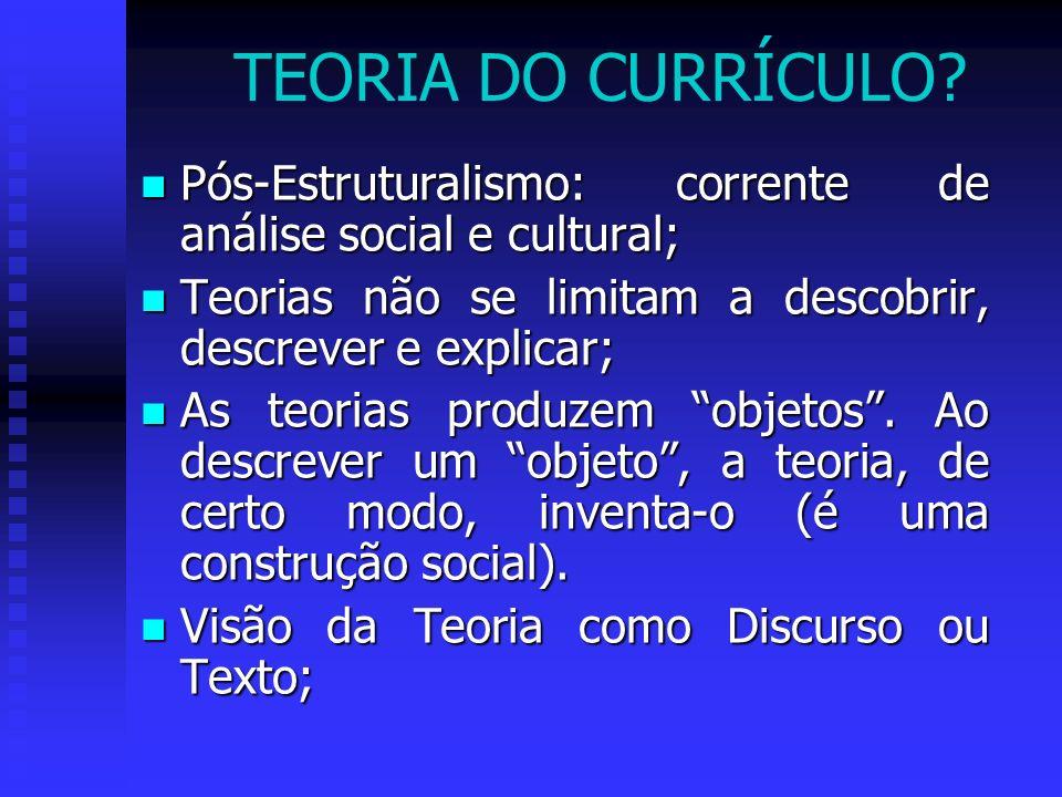 TEORIA DO CURRÍCULO Pós-Estruturalismo: corrente de análise social e cultural; Teorias não se limitam a descobrir, descrever e explicar;
