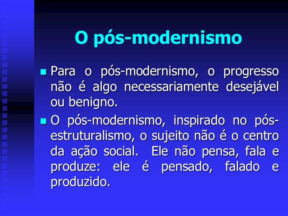 O pós-modernismo Para o pós-modernismo, o progresso não é algo necessariamente desejável ou benigno.