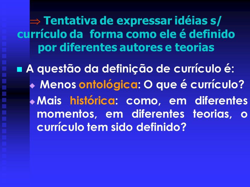  Tentativa de expressar idéias s/ currículo da forma como ele é definido por diferentes autores e teorias