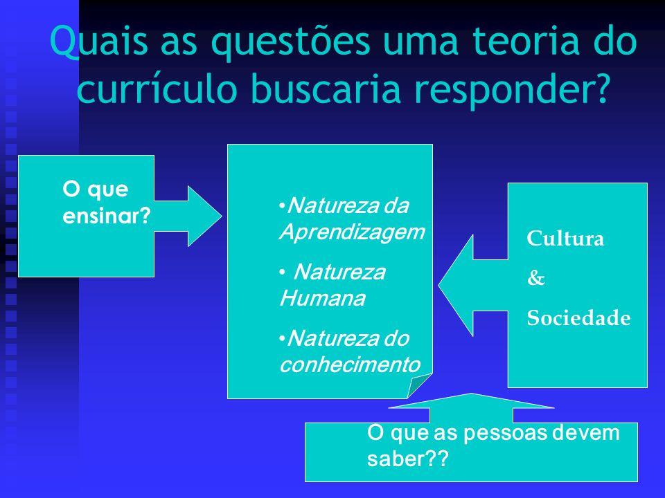 Quais as questões uma teoria do currículo buscaria responder