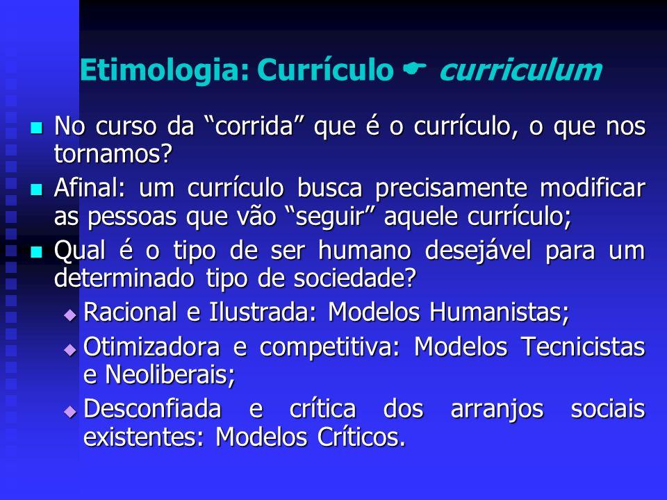 Etimologia: Currículo  curriculum