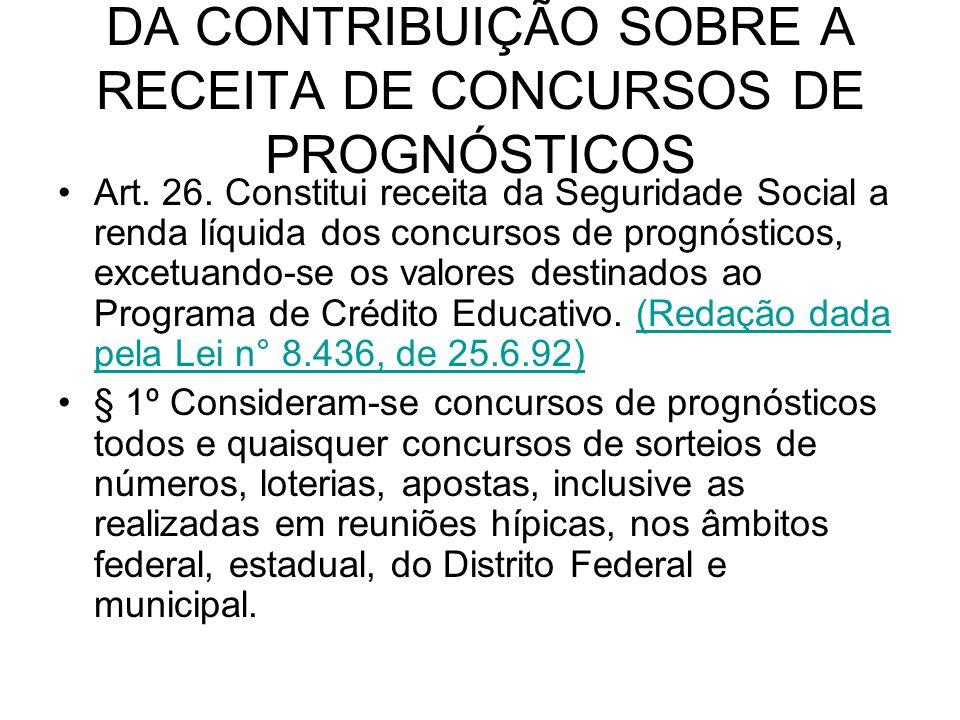 DA CONTRIBUIÇÃO SOBRE A RECEITA DE CONCURSOS DE PROGNÓSTICOS