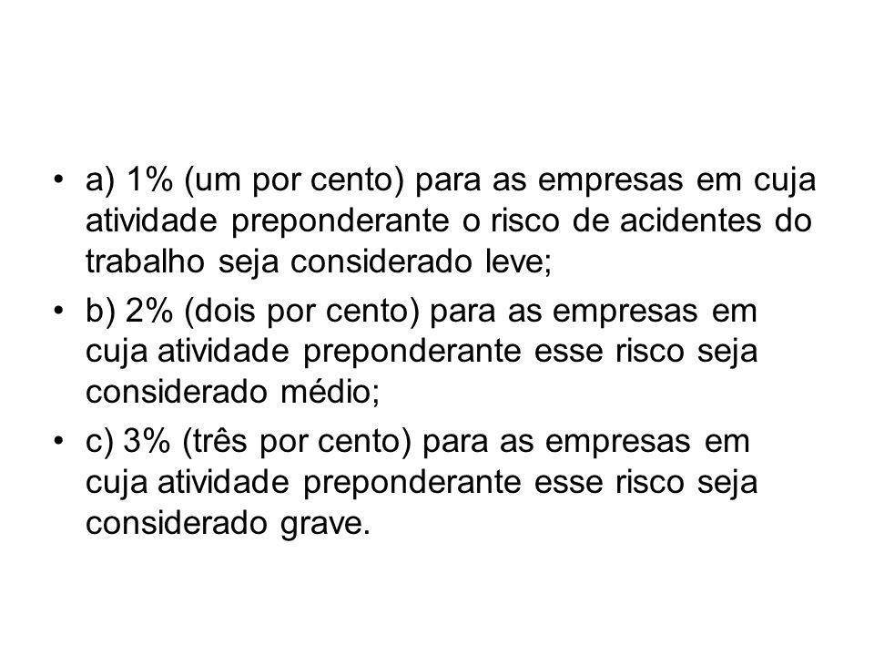 a) 1% (um por cento) para as empresas em cuja atividade preponderante o risco de acidentes do trabalho seja considerado leve;