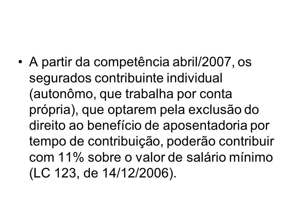 A partir da competência abril/2007, os segurados contribuinte individual (autonômo, que trabalha por conta própria), que optarem pela exclusão do direito ao benefício de aposentadoria por tempo de contribuição, poderão contribuir com 11% sobre o valor de salário mínimo (LC 123, de 14/12/2006).