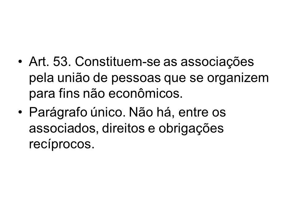 Art. 53. Constituem-se as associações pela união de pessoas que se organizem para fins não econômicos.