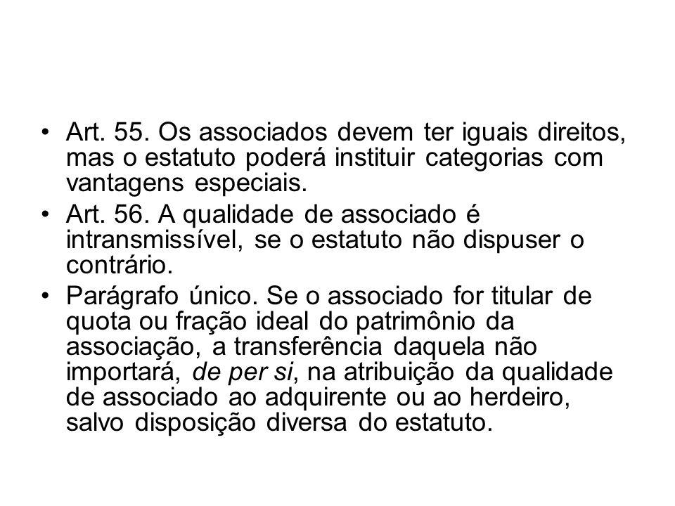 Art. 55. Os associados devem ter iguais direitos, mas o estatuto poderá instituir categorias com vantagens especiais.