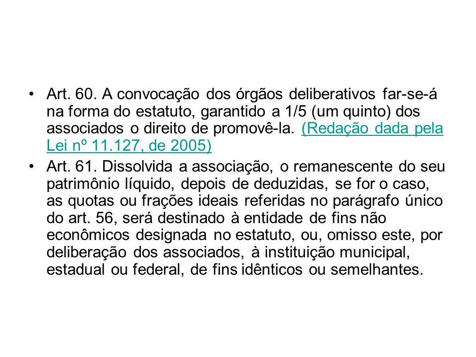 Art. 60. A convocação dos órgãos deliberativos far-se-á na forma do estatuto, garantido a 1/5 (um quinto) dos associados o direito de promovê-la. (Redação dada pela Lei nº 11.127, de 2005)