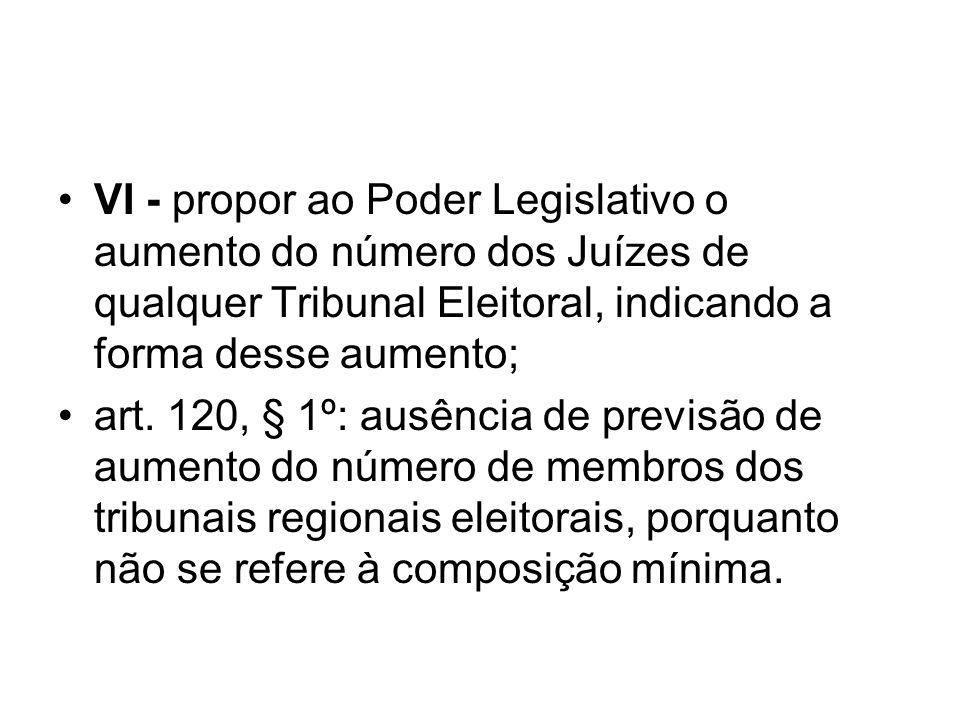VI - propor ao Poder Legislativo o aumento do número dos Juízes de qualquer Tribunal Eleitoral, indicando a forma desse aumento;