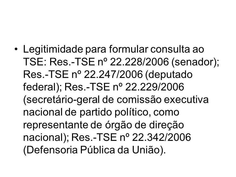 Legitimidade para formular consulta ao TSE: Res. -TSE nº 22